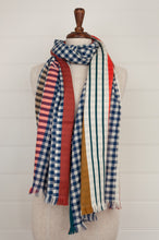 Load image into Gallery viewer, Inouitoosh pure wool scarf 70x190cm in blue and white checks with jacquard stripes in coral and olive.