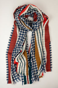 Inouitoosh pure wool scarf 70x190cm in blue and white checks with jacquard stripes in coral and olive.