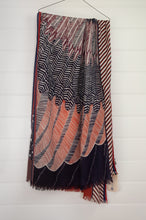 Load image into Gallery viewer, Inouitoosh pure wool scarf 70x190cm Aquila (eagle) in rustable and white with border stripe.