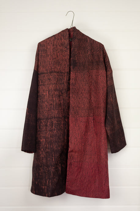 Neeru Kumar shibori dyed quilted silk Kou jacket, silk lined, in deep rose red and charcoal espresso.