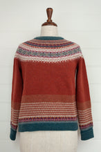 Load image into Gallery viewer, Eribé Alpine fairisle sweater in merino with angora,  Russet features a rich red brown body, with highlights of burgundy, teal, light grey and toffee.