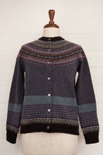 Load image into Gallery viewer, Eribé Selkie fairisle cardigan, merino wool with angora, in deep blue grey with purple, sky blue, ecru, toffee and chocolate brown highlights.