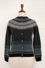 Load image into Gallery viewer, Eribé Alpine fairisle cardigan in Colliery, charcoal background, with accents in shades of oatmeal, teal, and soft blue greys