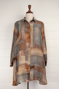 Raga digital print A-line silk tunic shirt in a patchwork of silver, gunmetal, gold, and bronze.