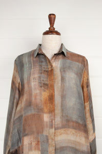 Raga digital print A-line silk tunic shirt in a patchwork of silver, gunmetal, gold, and bronze (close up).
