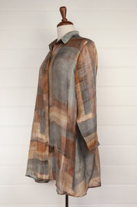 Raga digital print A-line silk tunic shirt in a patchwork of silver, gunmetal, gold, and bronze (side).