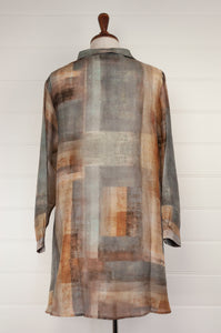 Raga digital print A-line silk tunic shirt in a patchwork of silver, gunmetal, gold, and bronze (rear).