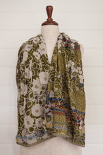 Load image into Gallery viewer, Létol organic cotton jacquard scarf made in France, Samantha orange gris, a field of flowers in shades of olive green and gold.