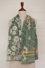Load image into Gallery viewer, Létol organic cotton jacquard scarf made in France, Samantha orange gris, a field of flowers in shades of aqua blue, celadon green, with taupe and gold highlights.