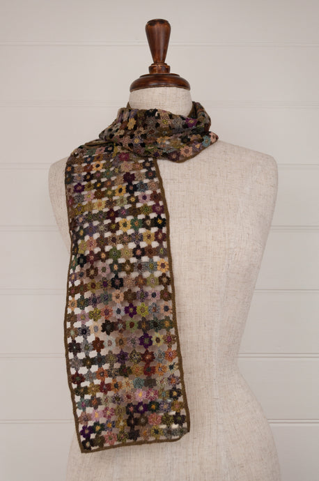 Sophie Digard Paris crocheted wool scarf, Flour Micro flowers in rich wintery tones with pops of colour.