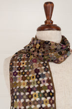 Load image into Gallery viewer, Sophie Digard Paris crocheted wool scarf, Flour Micro flowers in rich wintery tones with pops of colour.