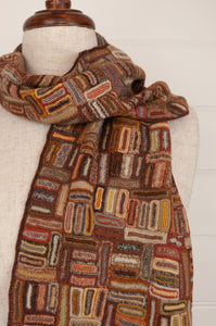 E4099 Sophie Digard Paris long merino wool crochet scarf Air View geometric design in Earth palette, rust, chocolate, brown, olive, orange, gold.