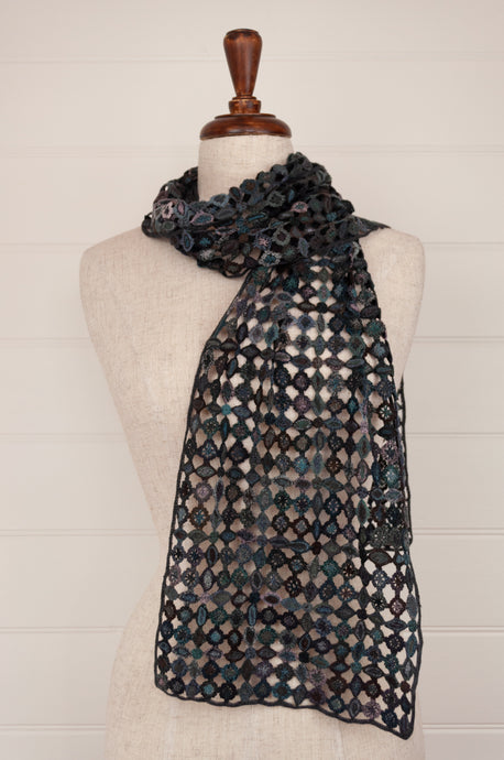 Sophie Digard Paris crochet scarf in merino wool, Fleur Bleue E3392 in shades of blue, green, turquoise, teal and aqua.