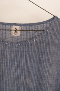 Dve Collection Anisha top in chambray khadi hand loomed cotton, pin tucked bodice front and back, three quarter sleeve, selvedge edge detail. One size (label detail).