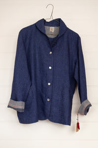 Dve Collection Varuuni unlined linen jacket in indigo, shell buttons, patch pockets and gingham facings.