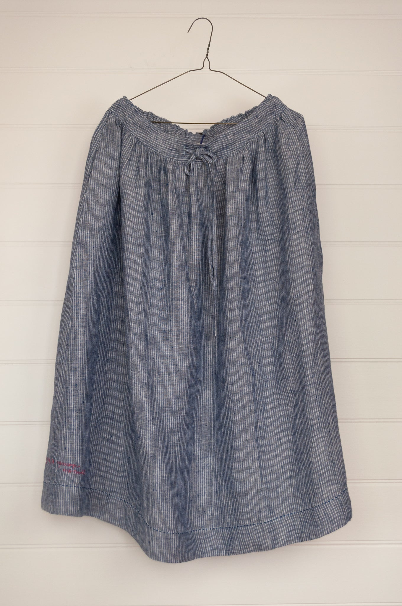 Dve Collection blue and white stripe linen Isha skirt, one size.