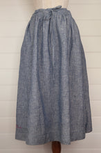 Load image into Gallery viewer, Dve Collection blue and white stripe linen Isha skirt, one size.
