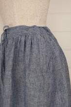 Load image into Gallery viewer, Dve Collection blue and white stripe linen Isha skirt, one size (waist side detail).
