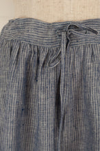 Load image into Gallery viewer, Dve Collection blue and white stripe linen Isha skirt, one size (waist tie detail).