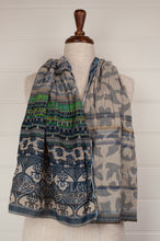 Load image into Gallery viewer, Létol organic cotton jacquard scarf, made in France,Vic is a classic Létol design of patterned stripes, celebrating denim blue, with a fabulous striped section in brilliant turquoise and emerald green.