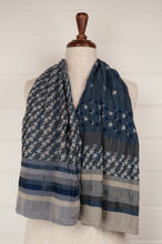 Load image into Gallery viewer, Létol organic cotton Jacquard scarf, made in France, Stella is a subtle and sophisticated design of stars and strips in shades of blue and grey.