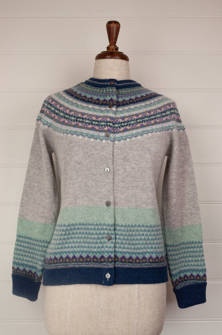 Made in Scotland Eribé fairisle cardigan, merino wool with angora, Arctic is a cool winter palette - soft ash grey with accents of navy, aqua, lilac and peppermint.