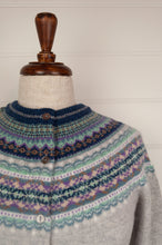 Load image into Gallery viewer, Made in Scotland Eribé fairisle cardigan, merino wool with angora, Arctic is a cool winter palette - soft ash grey with accents of navy, aqua, lilac and peppermint.