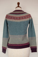 Load image into Gallery viewer, Made in Scotland Eribé fairisle merino and angora cardigan, Old Rose a nostalgic palette of dusky aqua with accents of burgundy and oatmeal, with pops of rose pink.
