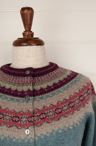 Made in Scotland Eribé fairisle merino and angora cardigan, Old Rose a nostalgic palette of dusky aqua with accents of burgundy and oatmeal, with pops of rose pink.