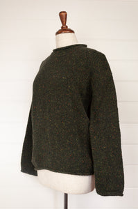 Fisherman out of Ireland roll neck sweater 100% merino wool made in Ireland, Donegal tweed in Hunter Green, deep olive.