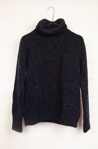 Fisherman out of Ireland polo neck sweater 100% merino wool made in Ireland, Donegal tweed in Night Sky, dark navy.