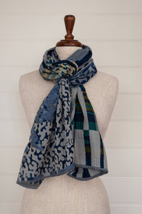 Létol scarf made in France from organic cotton, jacquard weave Georgia bleu turquoise, stripes and checks blending to an abstract print in shades of blue, turquoise and teal, with lemon and olive highlights.
