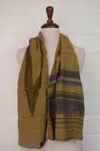 Load image into Gallery viewer, Létol scarf made in France from organic cotton, jacquard weave Désiré in Cachou, stripe design in shades of yellow olive, citrine and charcoal with highlights in brilliant pink.