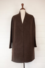 Load image into Gallery viewer, Baby yak wool Tashi longline boyfriend cardigan with side pockets, in mocha deep chocolate coffee brown.