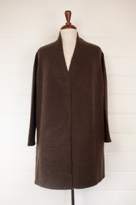 Baby yak wool Tashi longline boyfriend cardigan with side pockets, in mocha deep chocolate coffee brown.
