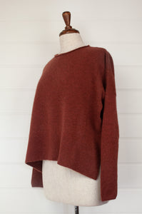 Baby yak wool Iris sweater ethically made in Nepal, loose fit crew neck with dropped shoulder and side slits, in dark Sienna rust brown.