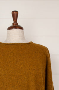 Baby yak wool Iris sweater ethically made in Nepal, loose fit crew neck with dropped shoulder and side slits, in maize, rich gold mustard yellow.