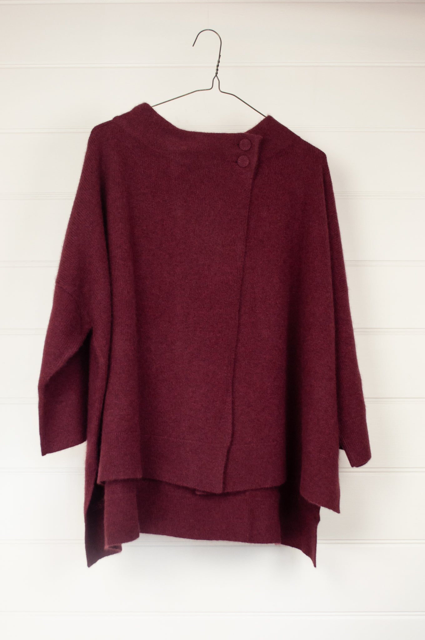 Baby yak wool Resha cardigan jacket, wide tunnel collar, overlap at from with two button closure at neck, kimono sleeves and side slits, boxy fit, in sangria, soft wine red.