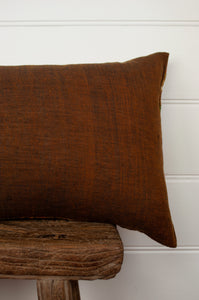 Vintage silk kantha bolster cushion, feather insert included, in shades of orange, mustard, rose and olive (backing).