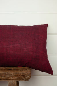 Vintage silk kantha bolster cushion, feather insert included, in shades of cherry red, rose, chocolate and gold (backing).