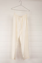 Load image into Gallery viewer, Maku white mulberry silk pyjama pants, elastic waist.