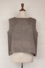 Load image into Gallery viewer, Dve one size Aishani top in charcoal chambray linen, sleeveless boxy shape with hand stitched faggoting detail.