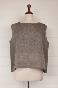 Dve one size Aishani top in charcoal chambray linen, sleeveless boxy shape with hand stitched faggoting detail.