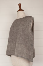 Load image into Gallery viewer, Dve one size Aishani top in charcoal chambray linen, sleeveless boxy shape with hand stitched faggoting detail (side).