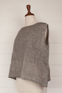 Dve one size Aishani top in charcoal chambray linen, sleeveless boxy shape with hand stitched faggoting detail (side).