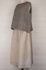 Dve one size Aishani top in natural linen, sleeveless boxy shape with hand stitched faggoting detail (worn with skirt).