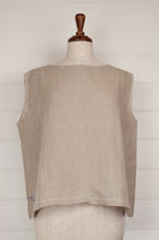 Load image into Gallery viewer, Dve one size Aishani top in natural linen, sleeveless boxy shape with hand stitched faggoting detail.