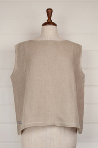 Dve one size Aishani top in natural linen, sleeveless boxy shape with hand stitched faggoting detail.