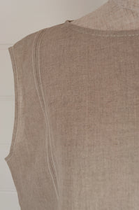 Dve one size Aishani top in natural linen, sleeveless boxy shape with hand stitched faggoting detail (close up detail).