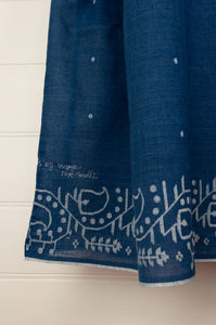 Dve Laxmi dress fine indigo jamdani khadi cotton with spots and exquisite woven border, easy fit cap sleeve, skirt gathered at sides with pockets (jamdani border).